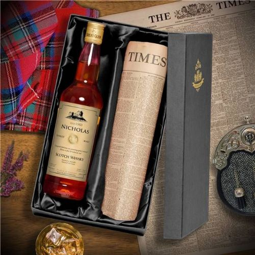 Personalised Scotch Whisky and Newspaper
